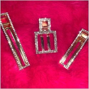 Blinged out Gold hair clips